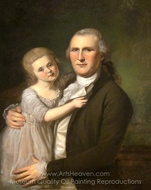 James Crawford and Daughter painting reproduction, Charles Willson Peale