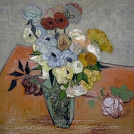 Japanese Vase with Roses and Anemones painting reproduction, Vincent Van Gogh