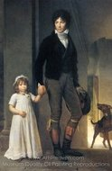 Jean-Baptist Isabey with His Daughter painting reproduction, Francois Gerard