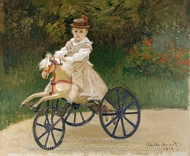 Jean Monet on His Mechanical Horse painting reproduction, Claude Monet