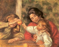 Jean Playing with Gabrielle and a Girl painting reproduction, Pierre-Auguste Renoir
