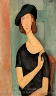 Jeanne Hebuterne in a Hat painting reproduction, Amedeo Modigliani