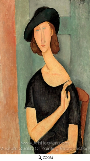 Amedeo Modigliani, Jeanne Hebuterne in a Hat oil painting reproduction