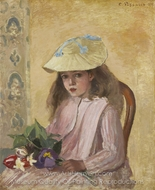 Jeanne Pissarro with a Bouquet painting reproduction, Camille Pissarro