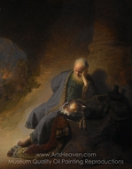 Jeremiah Lamenting the Destruction of Jerusalem painting reproduction, Rembrandt Van Rijn