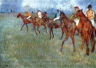 Jockeys in the Rain painting reproduction, Edgar Degas
