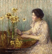 Jonquils painting reproduction, Childe Hassam