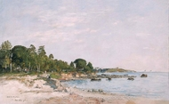 Juan-les-pins, the Bay and the Shore painting reproduction, Eugene-Louis Boudin