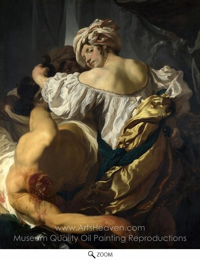 Johann Liss, Judith in the Tent of Holofernes oil painting reproduction