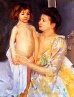 Jules Being Dried by His Mother painting reproduction, Mary Cassatt