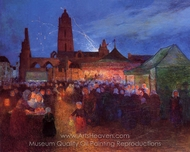 July 14th Fireworks at Bourg-de-Batz painting reproduction, Ferdinand Du Puigaudeau