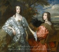 Katherine, Countess of Chesterfield and Lucy, Countess of Huntingdon painting reproduction, Sir Anthony Van Dyck