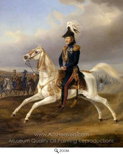 Albrecht Adam, King William I of Wurttemberg on Horseback oil painting reproduction