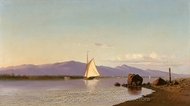 Kingston Point, Hudson River painting reproduction, Francis Augustus Silva