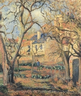 Kitchen Gardens at l'Hermitage, Pontoise painting reproduction, Camille Pissarro
