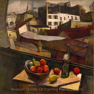 Knife and Fruit in Front of the Window painting reproduction, Diego Rivera