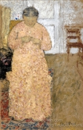 Knitting Woman in Pink Dress painting reproduction, Edouard Vuillard