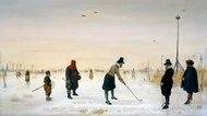 Kolfplayers on Ice painting reproduction, Hendrick Avercamp