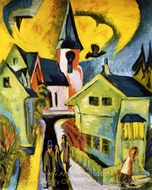 Konigstein Mit Roter Kirche painting reproduction, Ernst Ludwig Kirchner