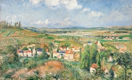 L'Hermitage in Summer, Pontoise painting reproduction, Camille Pissarro