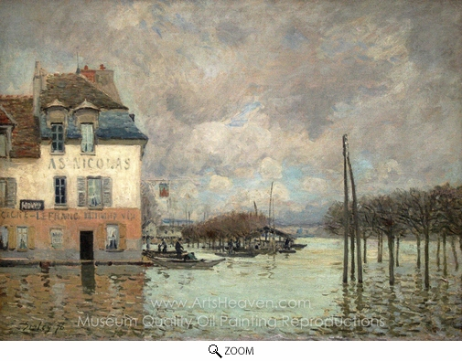Alfred Sisley, L'Inondation a Port-Marly oil painting reproduction