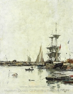 La Jetee a Trouville painting reproduction, Eugene-Louis Boudin