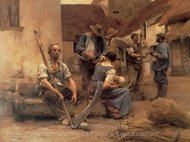 La Paye des moissonneurs (Paying the Harvesters) painting reproduction, Leon Augustin Lhermitte
