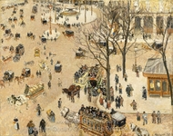 La Place du Theatre Francais painting reproduction, Camille Pissarro