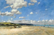 La Plage de Tourgeville painting reproduction, Eugene-Louis Boudin
