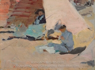 La Playa, Biarritz painting reproduction, Joaquin Sorolla