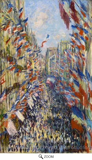 Claude Monet, La Rue Montorgueil, Decked out with Flags, 30 June 1878 oil painting reproduction