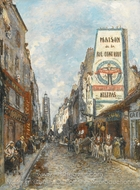 La Rue Saint-Jacques, Paris painting reproduction, Johan Barthold Jongkind