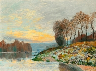 La Seine Pres de Bougival painting reproduction, Alfred Sisley