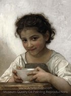 La soupe au lait painting reproduction, William A. Bouguereau