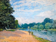 La Tamise avec Hampton Church painting reproduction, Alfred Sisley