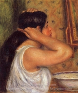 La Toilette (Woman Combing Her Hair) painting reproduction, Pierre-Auguste Renoir