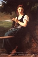 La Tricoteuse (The Knitting Girl) painting reproduction, William A. Bouguereau