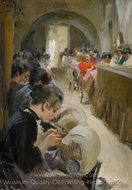Lace-making in Venice painting reproduction, Anders Zorn