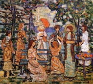 Ladies in a Seaside Arbor painting reproduction, Maurice Prendergast