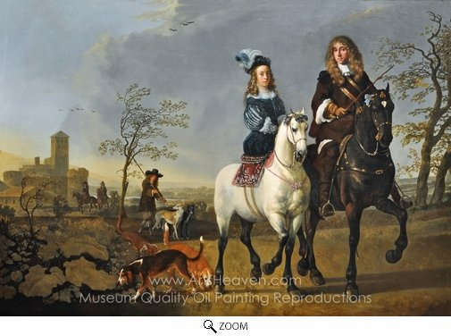 Aelbert Cuyp, Lady and Gentleman on Horseback oil painting reproduction