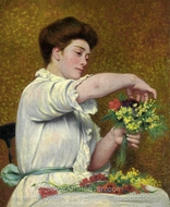 Lady Arranging Flowers painting reproduction, Federico Zandomeneghi