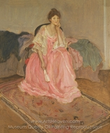 Lady in Pink painting reproduction, Frederick Carl Frieseke