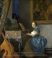 Lady Seated at a Virginal painting reproduction, Jan Vermeer