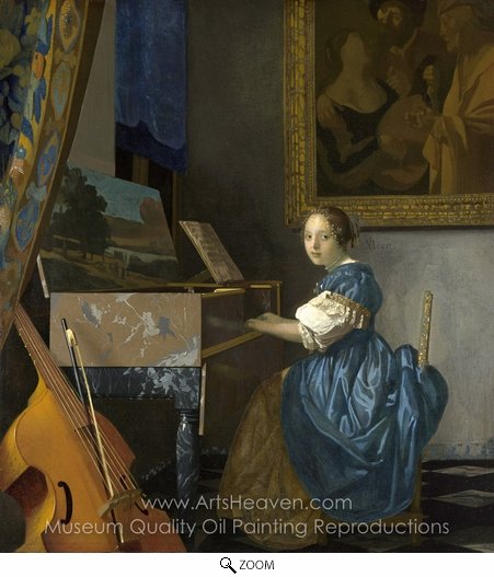 Jan Vermeer, Lady Seated at a Virginal oil painting reproduction