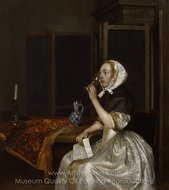 Lady Seated Holding a Wineglass painting reproduction, Gerard Ter Borch