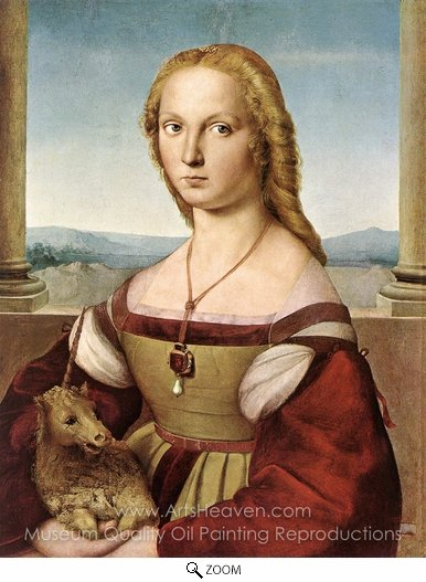 Raphael Sanzio, Lady with a Unicorn oil painting reproduction