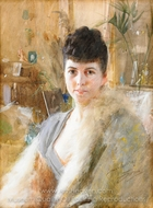 Lady with Fur Cape painting reproduction, Anders Zorn