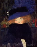 Lady with Hat and Feather Boa painting reproduction, Gustav Klimt