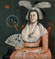 Lady with Her Pets (Molly Wales Fobes) painting reproduction, Rufus Hathaway