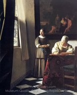 Lady Writing a Letter with Her Maid painting reproduction, Jan Vermeer